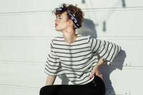 Stripes, Nautical, Scarf, Head Wrap, Malibu Beach, Curls, Hair Inspo,